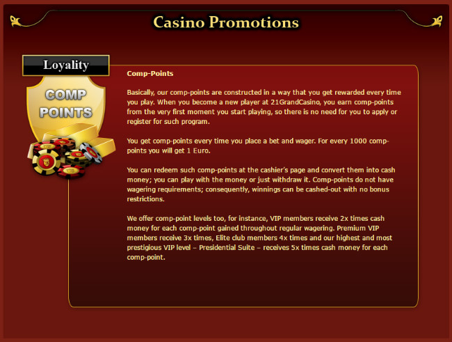 21Grand Casino – Loyalty bonus points